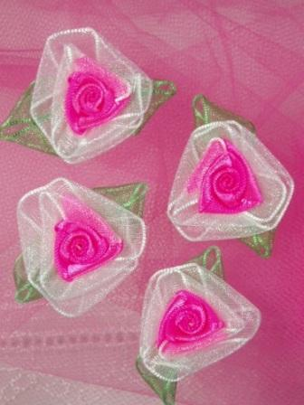 L53  Set of ( 4 ) Hot Pink Ribbon Roses 1.5""