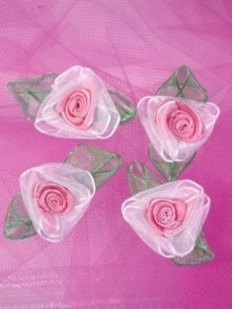 L53  Set of ( 4 ) Peach Ribbon Roses 1.5""