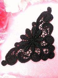 """C509725 Black Venise Lace  Collar Applique 5.75"""""""