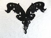 "Embroidered Black Venice Lace Yoke Applique 7.5"" (L70)"
