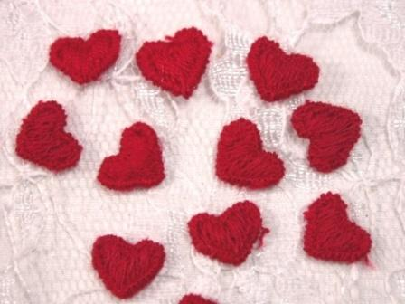 L7L  Set of ( 12 ) Red Heart Fabric Appliques 12 pcs.