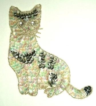 """LC19B  Cat Kitten Sequin Beaded Applique  5.75"""""""