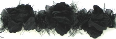 E5665 Black Rose Floral Stretchy Sewing Trim