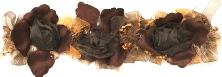 E5665 Brown Rose Floral Stretchy Sewing Trim