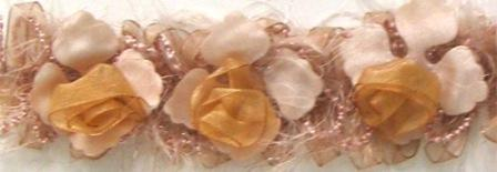 E5665 Cream Champagne Rose Floral Stretchy Sewing Trim