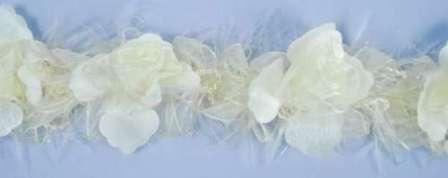 E5665 Ivory  Floral Stretchy Sewing Trim