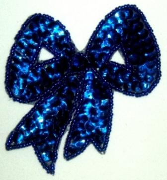 """LC361  Blue Bow Sequin Beaded Applique  3.25"""""""