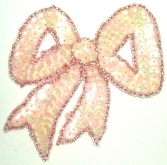 """LC361  Pink Peach Bow Sequin Beaded Applique  3.25"""""""