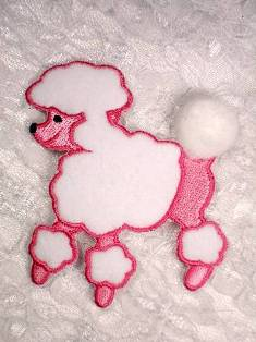 LC1417 Pink White Poodle Embroidered Applique 3""