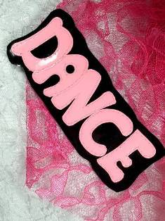 LC1425 Black Pink Dance Applique 4.75""
