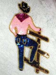 LC1427 Cowboy Western Country Rodeo Beaded Sequin Applique 7.5""