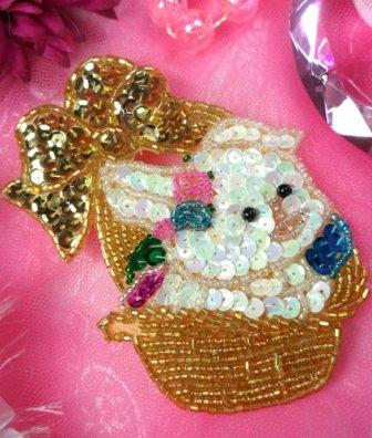 LC1500  Easter Bunny Rabbit in Basket Sequin Applique 4""