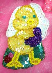 LC1501 Little Chick w/ egg Beaded Sequin Applique 4""