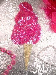 """LC1502  Pink Ice Cream Cone Sequin Beaded Applique 7.5"""""""