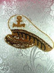 "LC1504 Captain Hat Multicolored Beaded Sequin Applique 5.25"""