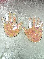 """LC1509  Hands Mirror Pair Light Pink Beaded Sequin Applique 3.25"""""""