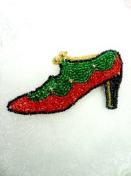 """LC1516 Ladies Shoe Multicolored Holiday Beaded Applique 4"""""""