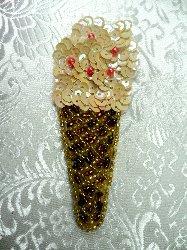 "LC1522 Multicolored Ice Cream Cone Beaded Sequin Applique 3.5"""