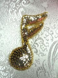 LC1544 Music Note Gold Beaded Sequin Applique 3.5""
