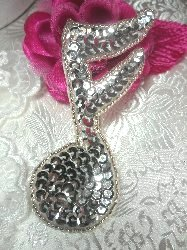 """LC1544 Music Note Silver Beaded Sequin Applique 3.5"""""""