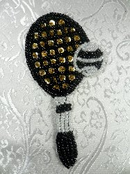 LC1553 Multicolor Tennis Racket Beaded  Applique 3.75""
