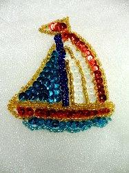 """LC1558 Sail Boat Multicolored Beaded Sequin Applique 2.5"""""""