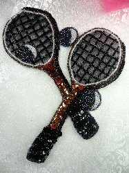LC1560 Black MultiColor Double Tennis Racket Beaded  Applique 8""