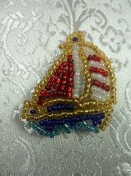 """LC1561 Sail Boat Multicolored Beaded Applique 1.5"""""""