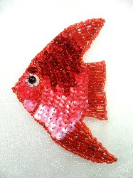 """LC1567 Red Fish Small Sequin Beaded Applique 3.5"""""""
