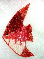 """LC1568 Red Fish Medium Sequin Beaded Applique 5.5"""""""