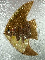 """LC1571 Gold Fish Medium Sequin Beaded Applique 5.5"""""""