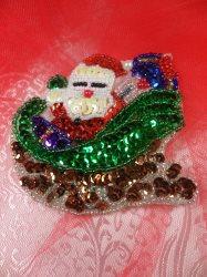"LC1595 Christmas Santa Sleigh Applique Beaded Sequin Patch 3"""