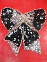 LC1621 Black Silver Christmas Bow Applique Beaded Sequin Patch 3.25""