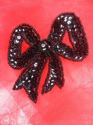 LC1623 Black Bow Applique Beaded Sequin Patch 2.5""