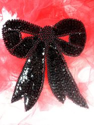 LC1624 Black Bow Applique Beaded Sequin Patch 4.5""