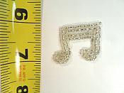 "Double Music Note Applique Beaded Patch Motif Silver 1.25"" (LC1631)"