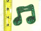 "Double Music Note Applique Beaded Sequin Patch Motif Green 3"" (LC1632)"