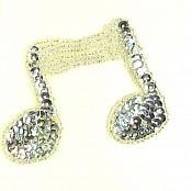 """Double Music Note Applique Beaded Sequin Patch Motif Silver 3"""" (LC1632)"""