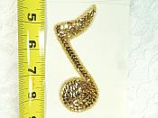 """Music Note Applique Beaded Sequin Patch Motif Gold 4.25"""" (LC1634)"""