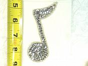 """Music Note Applique Beaded Sequin Patch Motif Silver 4.25"""" (LC1634)"""