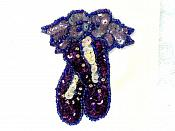 LC1642 Ballerina slippers Applique Purple Beaded Ballet Shoes Patch 3""