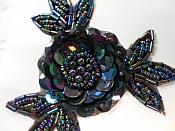 LC1653 Flower Applique Sequins w/ beads Sewing Crafts Floral Costume Patch Black AB 3.25""