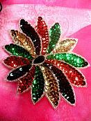 "Floral Applique Sequin Beaded Patch Motif Multicolor Self Adhesive 5"" (LC1729)"