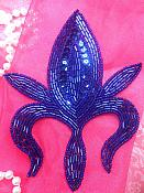 """Applique Sequin Beaded Patch Motif Royal Blue Self Adhesive 5.5"""" (LC1731)"""