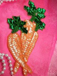 "LC1733 Self Adhesive Orange w/Green Carrot Beaded Sequin Applique 7"""