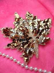 """LC1742 Self Adhesive Brown w/ Silver Leaf Beaded Sequin Applique 4.5"""""""
