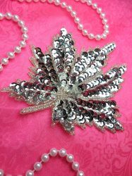 """LC1742 Self Adhesive Silver Leaf Beaded Sequin Applique 4.5"""""""