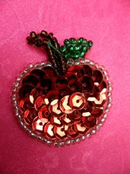 """LC1747 Self Adhesive Red Apple Beaded Sequin Applique 1.25"""""""