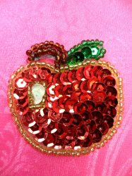 """LC1749 Self Adhesive Red Apple Beaded Sequin Applique 1.5"""""""