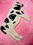 """Cow Applique Sequin Beaded Patch Motif White Black Self Adhesive 7.5"""" (LC1754)"""